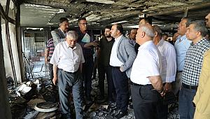 Başkan Çiftçi, yangın çıkan han'ı inceledi