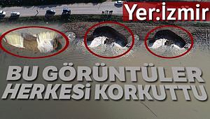 İzmir'de aşırı yağışlardan sonra ürküten obruklar