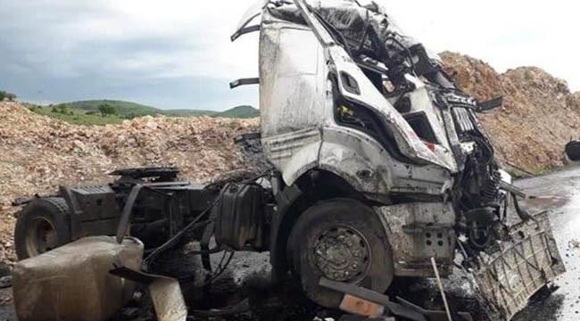 Tanker devrildi: 1 ağır yaralı