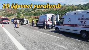 Öğrenci servisi takla attı: 18 yaralı