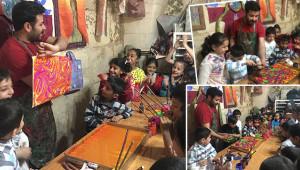 Çocuklar, ebru ile renklerin sihrini öğreniyor