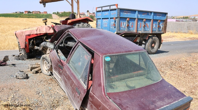 Traktör ile Otomobil Çarpıştı; 9 yaralı