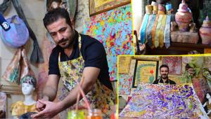 Ebru sanatıyla kıyafetler tasarlıyor
