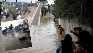 Gazze Şeridi'nde cadde ve sokaklar sular altında