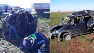 Hafif ticari araç devrildi: 5 yaralı