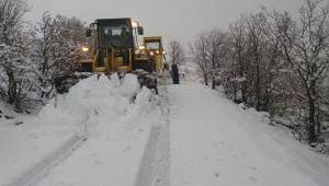 Komşuda kar yolları kapattı