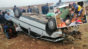 Yoldan çıkan araç devrildi: 1 yaralı