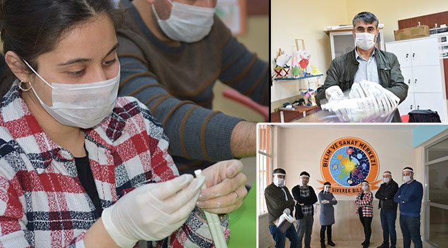 Öğretmenler de sağlık çalışanları için üretime başladı