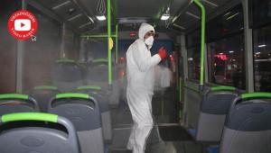 Özel halk otobüsleri de dezenfekte edildi