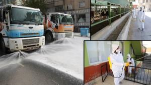 Haliliye'de 2 mahalle yıkanıp dezenfekte edildi