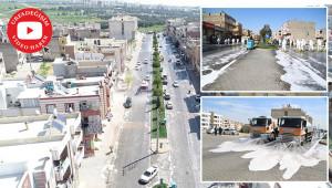 Haliliye'de caddeler köpüklü su ile yıkandı