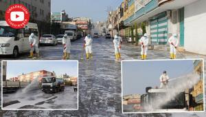 Koronavirüse karşı sokaklar yıkanıp dezenfekte ediliyor