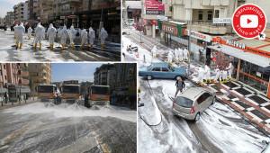 Urfa'da caddeler yıkanıp dezenfekte ediliyor