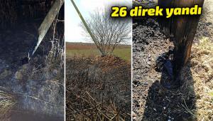 Anız yangınlarında elektrik direkleri yandı