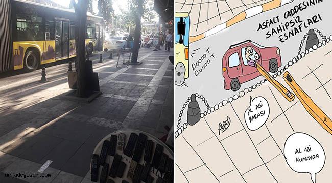 Asfalt caddesi karikatüre ilham oldu