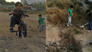 Çocukların kazma kürekli bisiklet aşkı