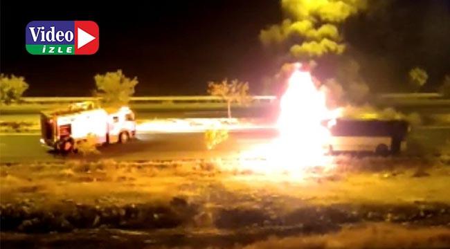 işçi minibüsü alev alev yandı