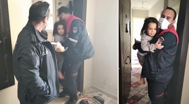 Evde mahsur kalan çocuklar kurtarıldı