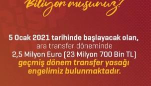 """Tokgöz: """"Kayserispor'un transfer yasağı var"""""""