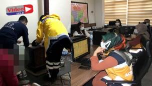 112 ekipleri hasta yerine sobayla karşılaştılar