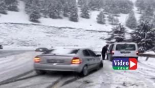 Karda kaza kameraya yansıdı: 1 yaralı
