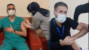Şanlıurfa'da sağlıkçılar aşı oluyor