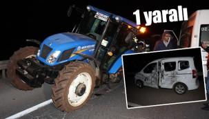 Traktörün fırlayan lastiği polis aracına çarptı