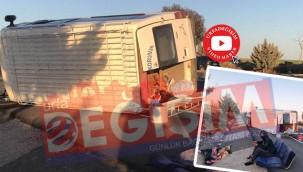 Yolcu minibüsü devrildi: 12 yaralı