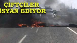 DEDAŞ'ı protesto eden çiftçiler yol kapattı!