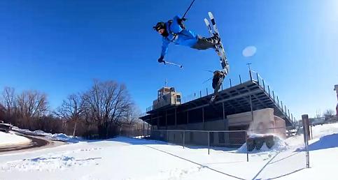 Aksiyon kamerası ile karda kayma anı